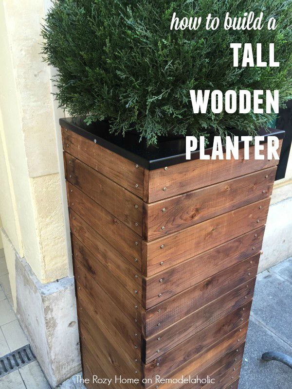 Remodelaholic Vive La France Build A Tall Wooden Planter