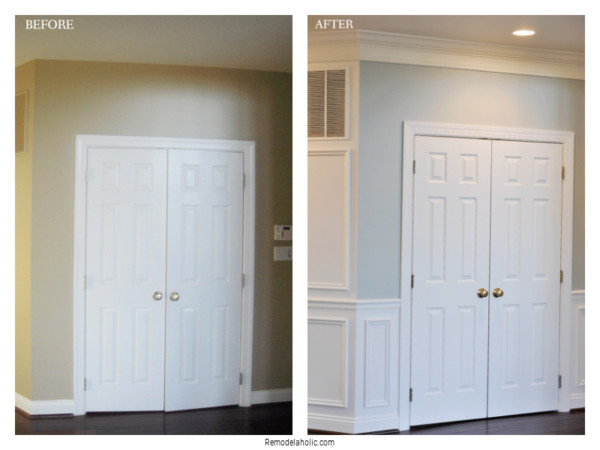 Installing Crown Molding And Shadow Box Trim, Before And After, On Remodelaholic