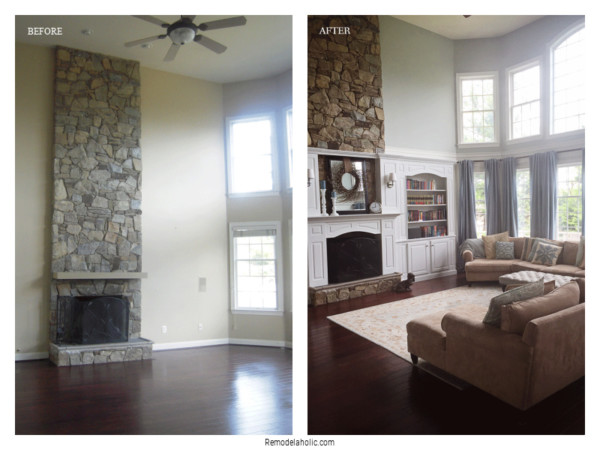 Installing Trim To Update Fireplace, Before And After On Remodelaholic