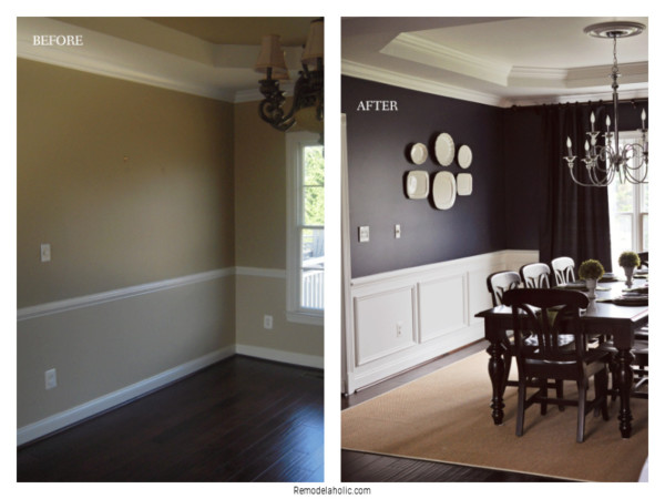 Installing Shadow Box Trim With Existing Chair Rail, Before And After On Remodelaholic