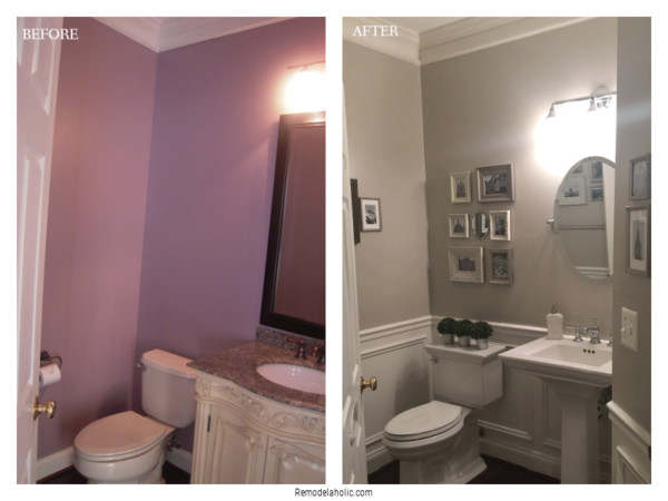Installing Wainscot Trim In Small Bathroom, Before And After, On Remodelaholic