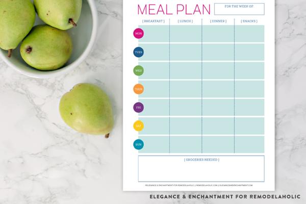 Remodelaholic | Free Printable Meal Planner