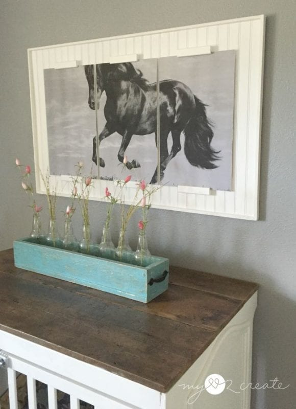 Triptych frame with engineering print