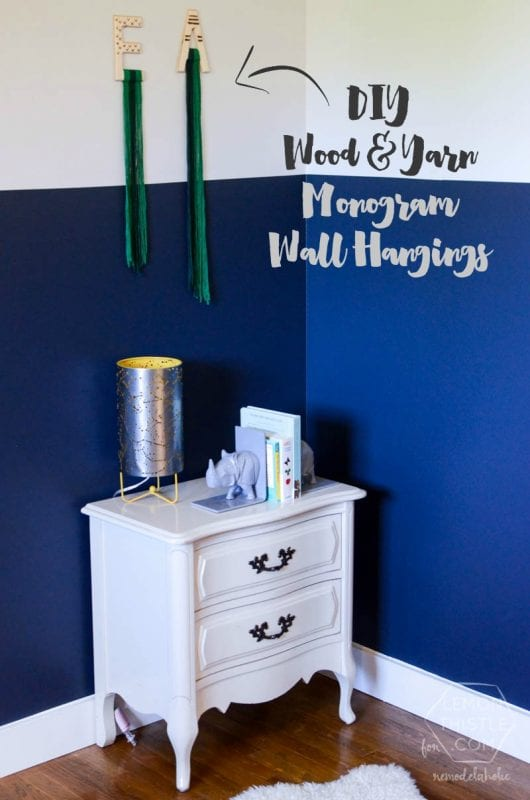 DIY Wood and Yarn Monogram Wall Hangings -- great for decorating a child's room!