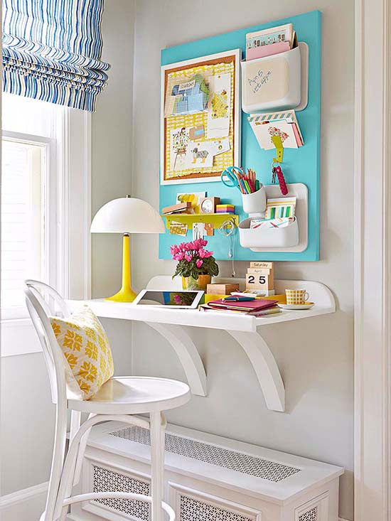 Remodelaholic simple diy wall desk - Workspace ideas small spaces ideas ...