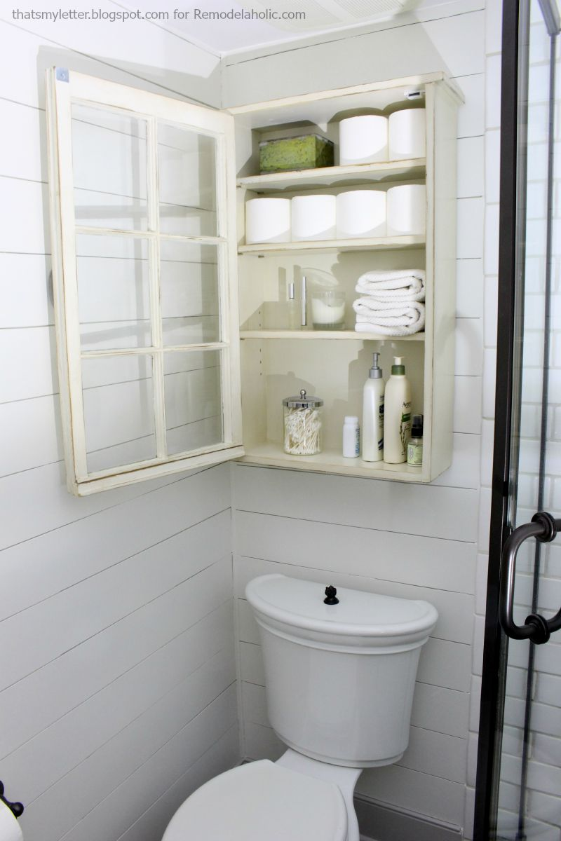 Remodelaholic bathroom storage cabinet using an old window for Best bathroom storage