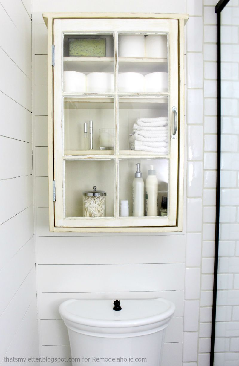 Remodelaholic bathroom storage cabinet using an old window for Bathroom storage cabinet