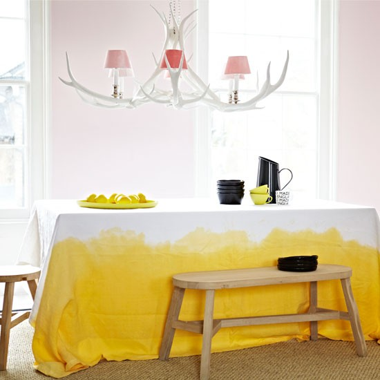 dip dyed tablecloth - use a dropcloth!