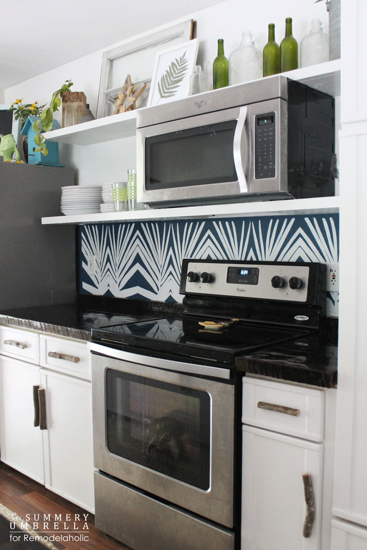 Kitchen Backsplash Diy Remodelaholic Diy Kitchen Backsplash Stencil