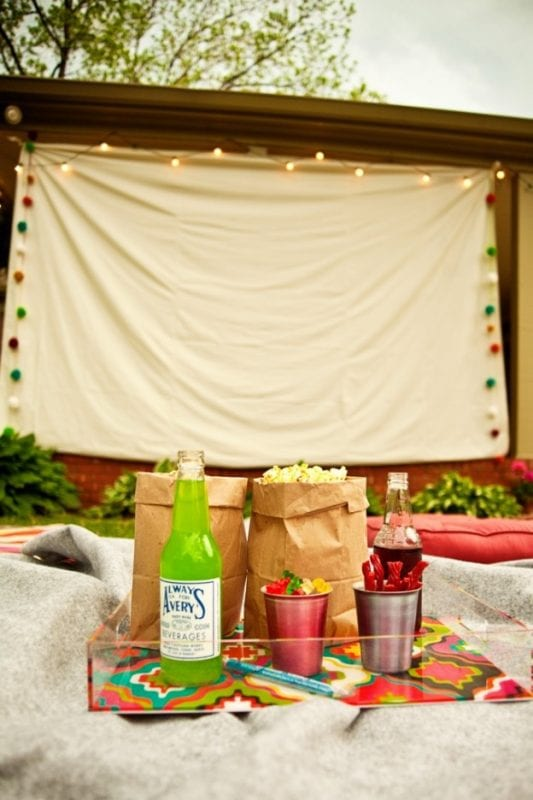 dropcloth outdoor movie screen