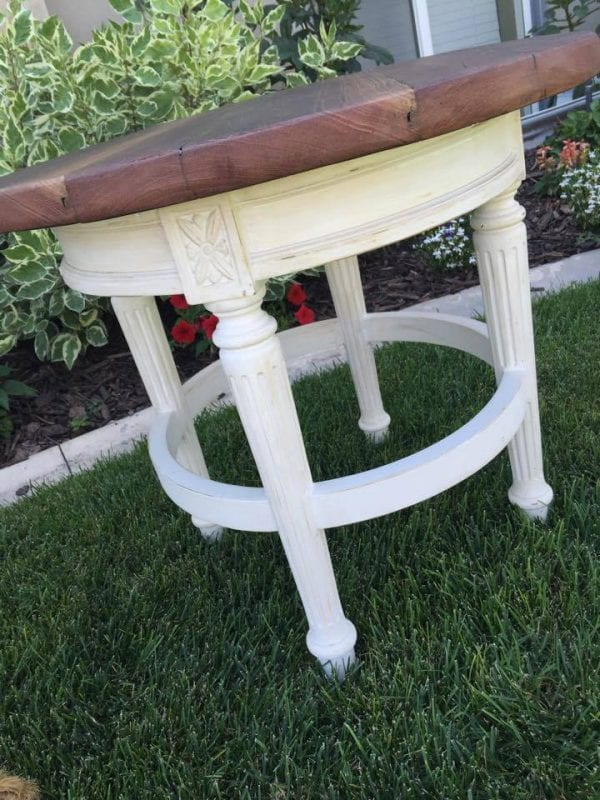 from Lori - turn a barstool into a padded outdoor swing and an end table (3)