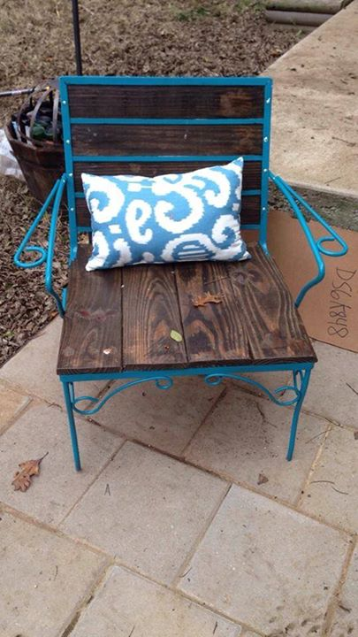 from Karla: old metal patio chair redone with wood planks, boho chic style