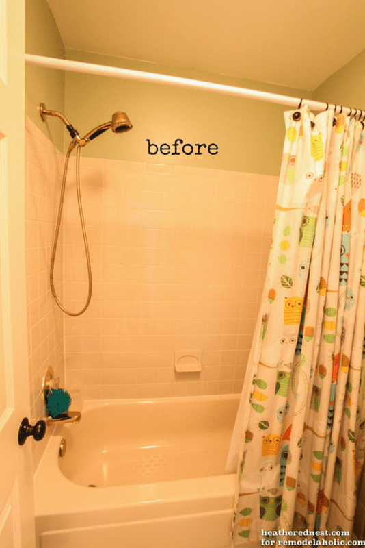 Remodelaholic how to update a tile shower tub in a weekend - Bathtub in shower ...