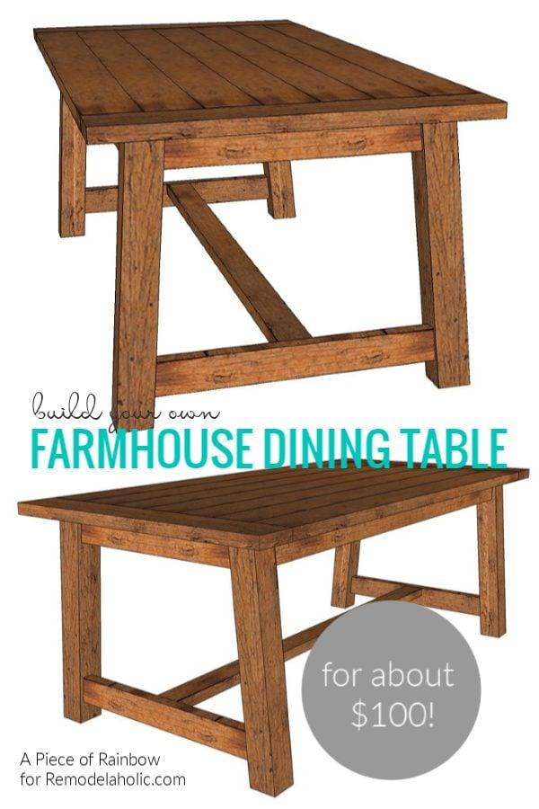 How To Build A Diy Farmhouse Dining Table For $100