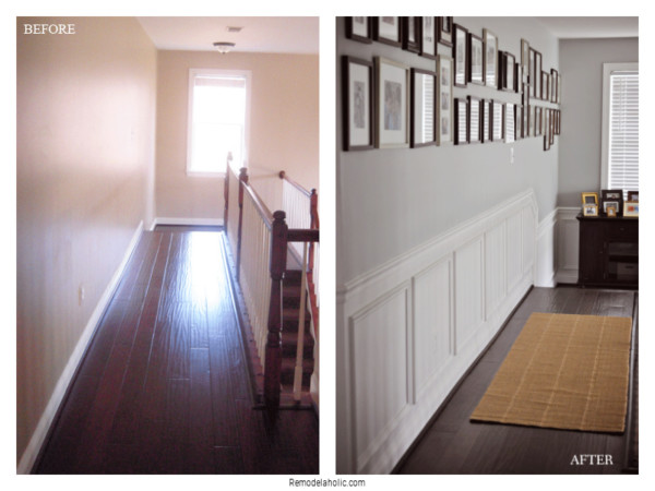 Installing Chair Rail And Shadow Box Trim In Hall, Before And After, On Remodelaholic
