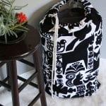 Beginner sewers laundry tote with Marimekko fabric!