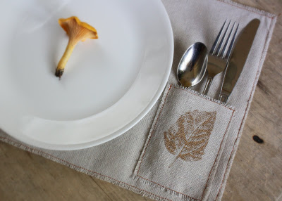 pocketed placemat made from a dropcloth