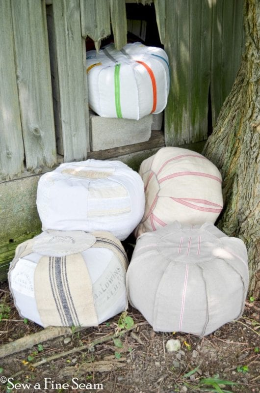 poufs made from a dropcloth