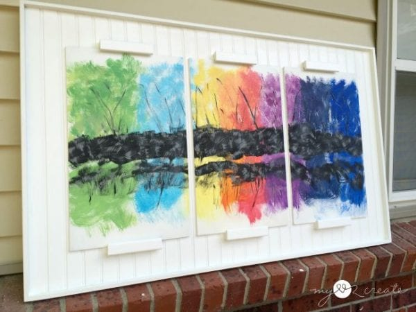 DIY large wall decor: triptych frame with abstract art, MyLove2Create