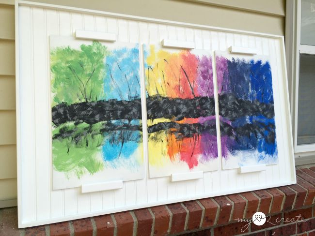 triptych frame with abstract art