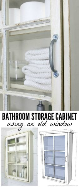 Build a bathroom storage cabinet using an old window