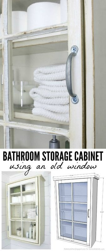 Lastest Bathroom Storage Cabinet Using An Old Window  Remodelaholic