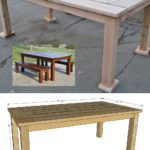 DIY Patio Table Set With Benches, Outdoor Dining Table With Drink Coolers, Remodelaholic