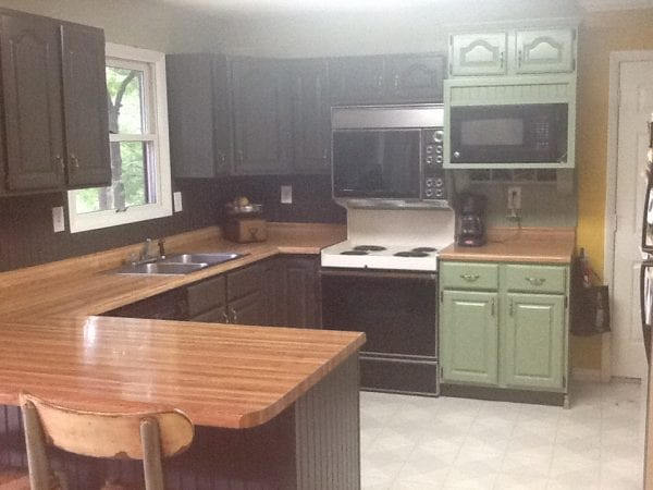 Diy Painted Kitchen Cabinets Before And After remodelaholic | diy refinished and painted cabinet reviews