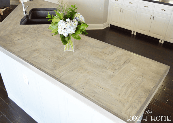 Jill The Rozy Home DIY wood herringbone countertops review