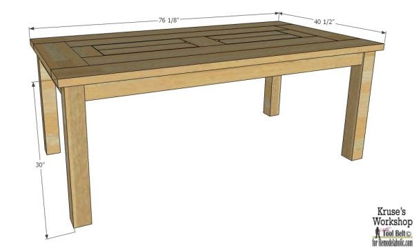 patio table woodworking plan with drink coolers, overall dimensions
