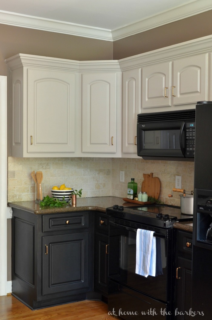 Remodelaholic diy refinished and painted cabinet reviews for Black and white painted kitchen cabinets
