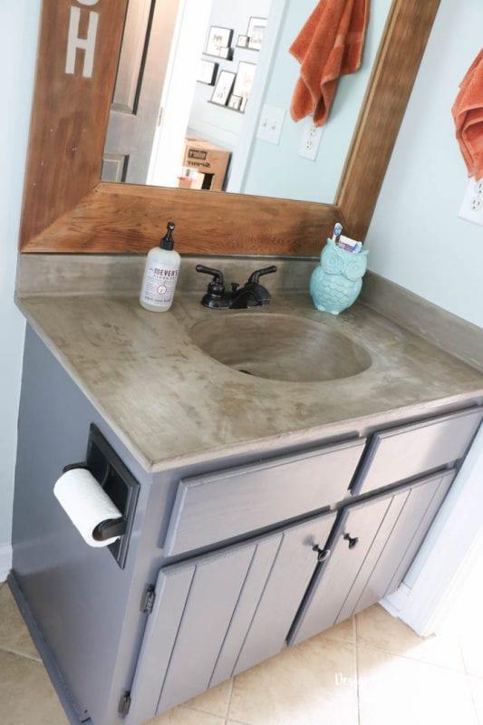Tasha Designer Trapped diy concrete countertop feather finish bathroom vanity with integral sink