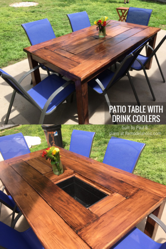 By Paul B, Patio Table With Ice Box Drink Coolers And Spar Urethane Finish, Plans Remodelaholic