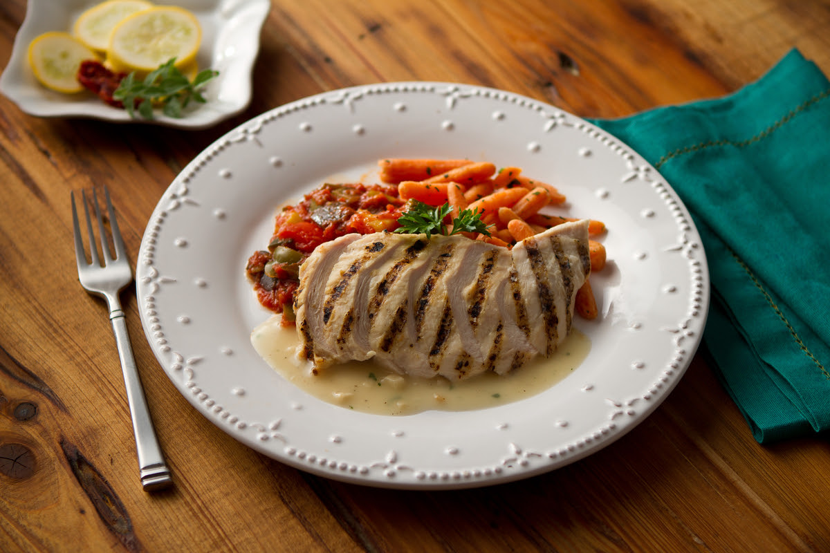 Grilled Chicken with Roasted Garlic Veloute Sauce