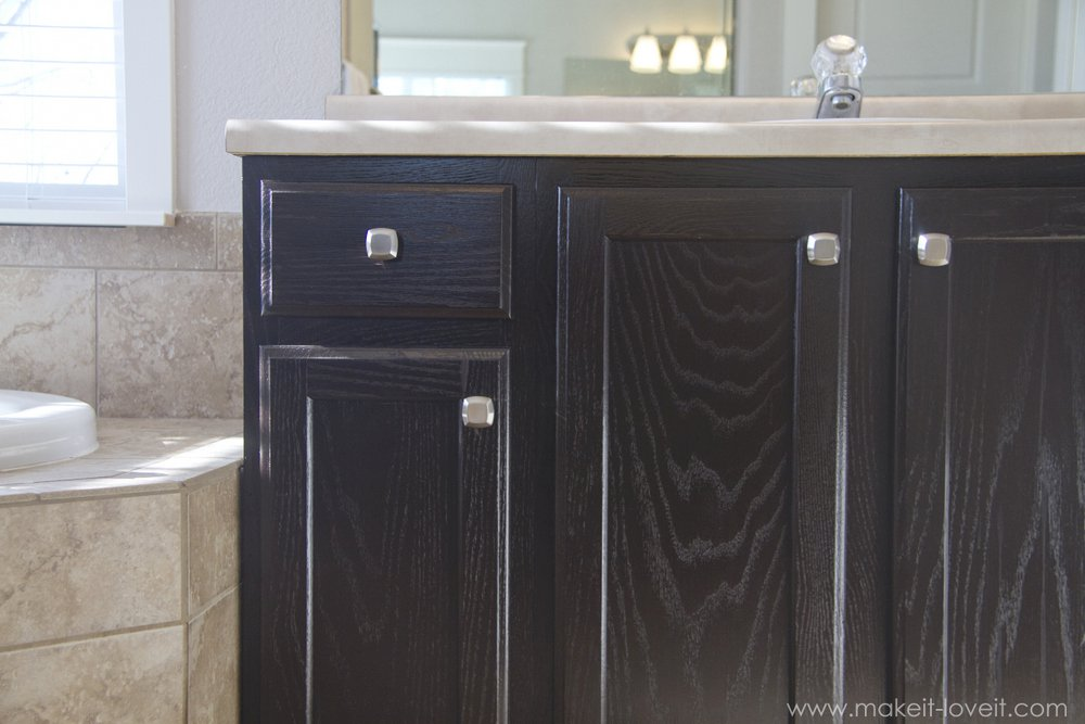 Remodelaholic diy refinished and painted cabinet reviews - Painting over stained kitchen cabinets ...