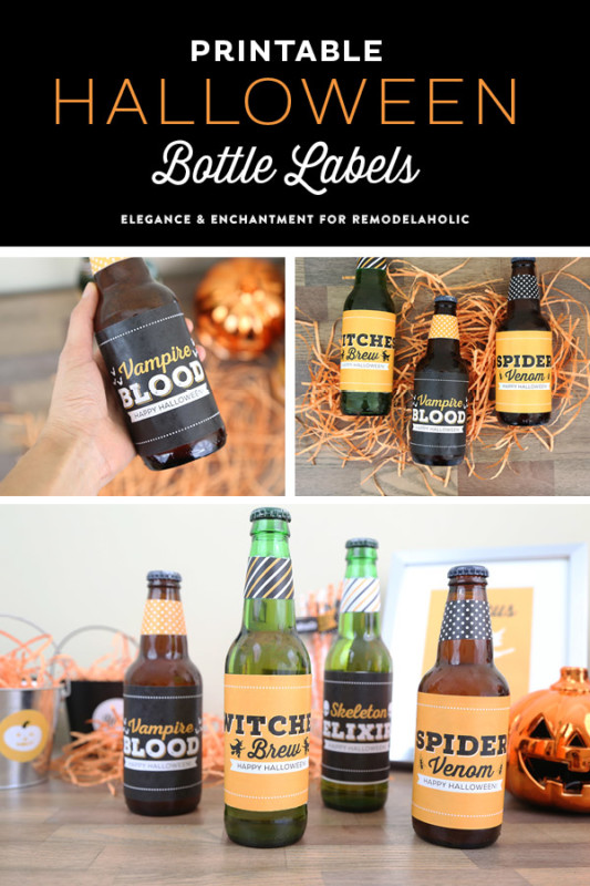 Halloween Party Printable Bottle Labels, Remodelaholic