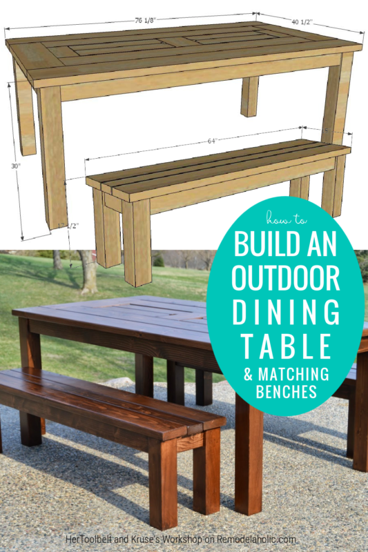 How To Build An Outdoor Dining Table And Matching Benches, Patio Table With Ice Box Drink Coolers, Remodelaholic