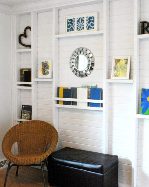 master bedroom built-in wall shelving Real Happy Space