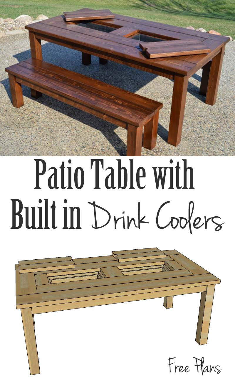 Building plans patio table with built in drink coolers Picnic table with cooler plans