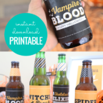 Printable Bottle Labels For Halloween Party Drinks, Remodelaholic