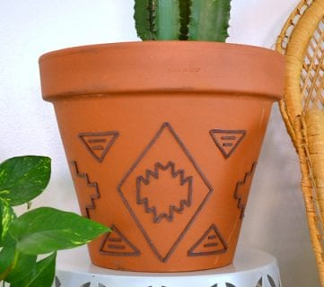 Tribal Inspired Suede Embellished Planter Tutorial