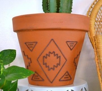 Tribal Inspired Suede Embellished Planter Tutorial