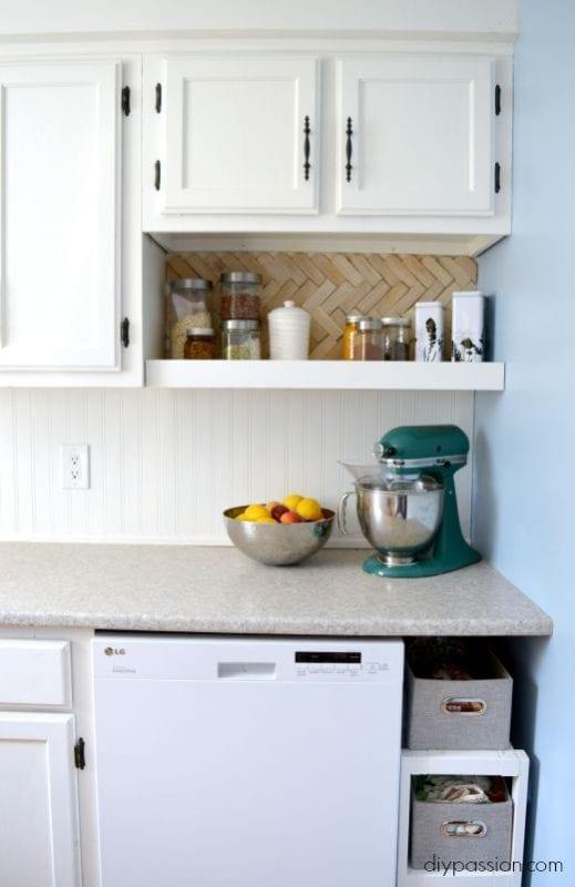 white kitchen makeover with wood shim backsplash open shelving DIY Passion