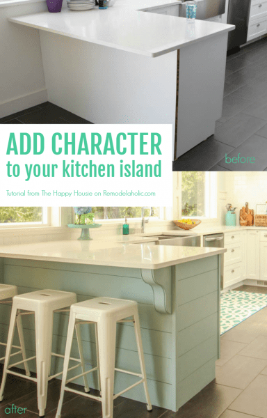 Add character to your kitchen island or peninsula by adding planks for shiplap texture and corbels for style. Easy DIY job that anyone can do! The Happy Housie on @Remodelaholic