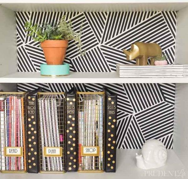 Add patterned backing to a bookshelf Polished Habitat