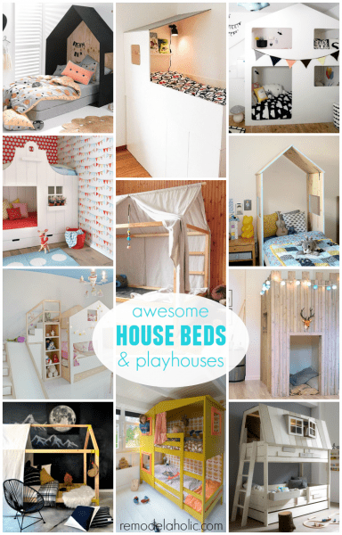 Awesome Kids House Beds and House-Shaped Playhouse Ideas @Remodelaholic