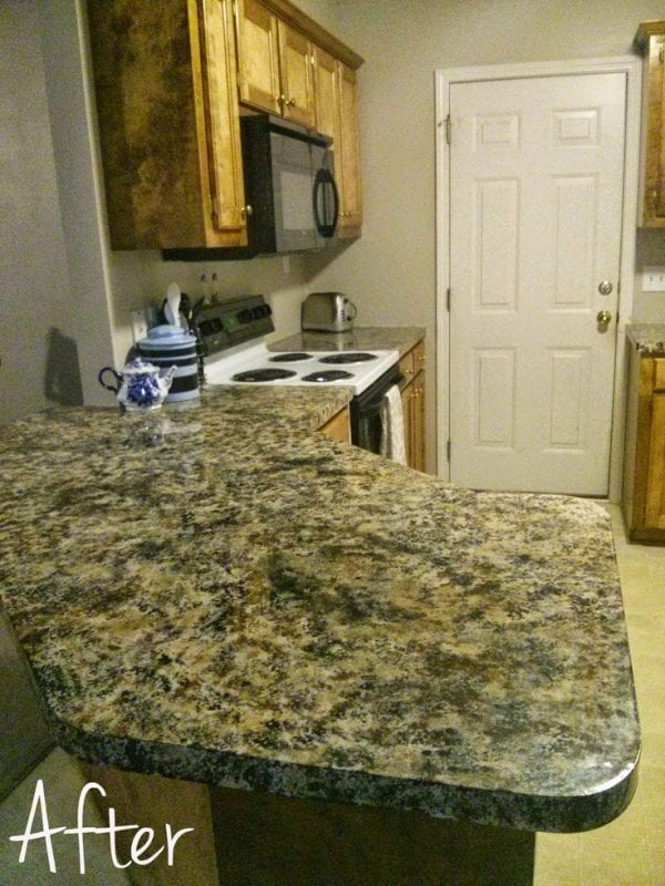 Castle DIY faux painted granite countertop review