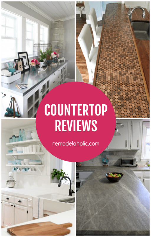Wondering what kind of countertop is best for your weekend (ha!) kitchen or bath update? Read these DIY countertop reviews to see which one is right for you.