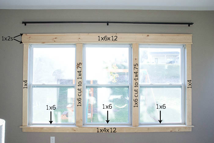 Visual of supplies used to create craftsman window trim featured on Remodelaholic.com