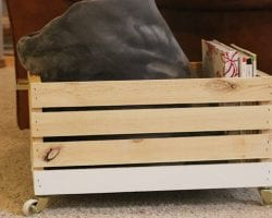 A beautiful multi-purpose display box with gold accents that's ideal for magazines, blankets, and toys!